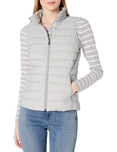 Amazon Essentials Women's Lightweight Water-Resistant Packable Down Vest, Light Grey, X-Large