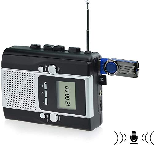 DIGITNOW Portable Radio Cassette Player Recorder, Cassette Tape to Mp3 Converter with Voice Recording Feature (2 AA Batteries and DC power not Included)