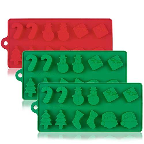 YuCool 3 moldes de Silicona para Tartas de Navidad, Chocolate, Dulces, jaleas, bandejas de Horno antiadherentes para decoración de Fiestas, Forma de árbol de Navidad, Cabeza de Papá Noel, Rojo, Verde