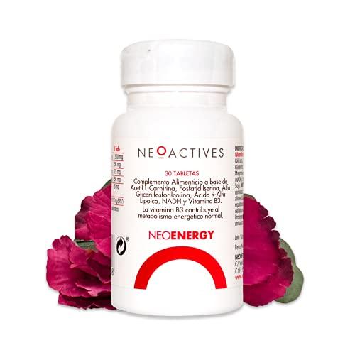 NeoEnergy | Suplemento con Acetil L-Carnitina, Fosfatidilserina, Alfa Glicerilfosforilcolina, Ácido R-Alfa Lipoico, NADH y Vitamina B3 | Ayuda a disminuir el cansancio y fatiga (30 cápsulas)