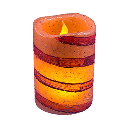 Contemporary Home Living 4' Yellow and Purple Candle Candy Cane LED Pillar - Medium