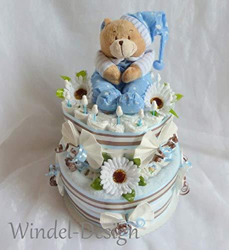 Windeltorte Spieluhr und Kuscheldecke Bärchen Junge Geschenk, Babyparty, Geburt oder Taufe, auf Wunsch mit Grußkärtchen