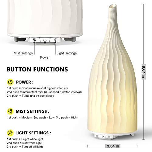 AromaAllure-Aromatherapy-Essential-Oil-Diffuser-La-Mode-C-120-ml-Ceramic-Ultrasonic-Aroma-Diffuser-with-Different-Misting-Level-and-Warm-Light