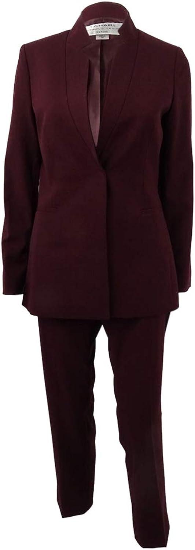 Tahari ASL Womens Petites Professional 2PC Pant Suit Red 2P