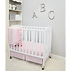 American Baby Company Heavenly Soft Minky Dot 3-Piece Mini/Portable Crib Bedding Set, Pink, for Girls