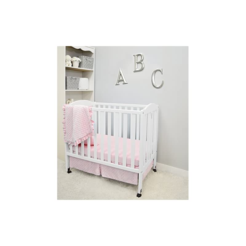 crib bedding and baby bedding american baby company heavenly soft minky dot 3-piece mini/portable crib bedding set, pink, for girls