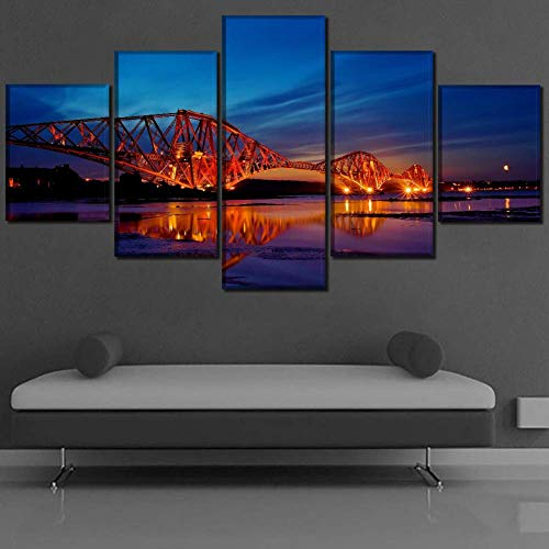 GWFVA Canvas Print 5 Panel Schotland River Bridge Schilderij Wandlampen Schilderij voor Moderne Kinderen Kamer Decor, B, 30X50X230X70X230X80X1