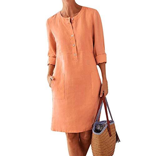 NOBRAND Übergröße Baumwolle und Leinen Kleid Langarm Shirt und Rock Gr. XXX-Large, Orange