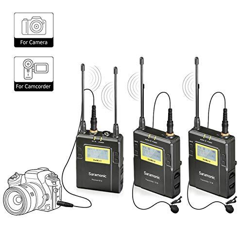 Saramonic UwMic9 96-kanaals UHF draadloos lavalier-microfoonsysteem Twee zenders en één ontvanger voor Pro DSLR en camcorder voor video, veldopname, interview, ENG, TV