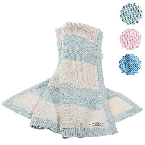 Babydecke aus 100% Bio Baumwolle - kuschelige Strickdecke ideal als Baby Decke, Erstlingsdecke, Wolldecke oder Baby Kuscheldecke in mint/natur-weiß für Mädchen und Jungen