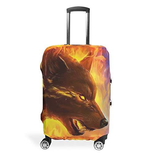 Wolf Animal Travel Luggage Protector Foldable Anti-Scratch Fits 18-32 Inch for Wheeled Suitcase Over Softsided White 22-24in