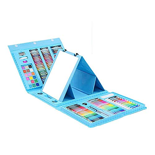 ZXIAQI 176 Stück Aquarellstifte Set für Erwachsene und Kinder, Kunstbox mit Öl pastellen, Buntstiften, Markern, Notizblock für Kinder und Kleinkinder Geschenk,Blau