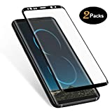 Basesailor Galaxy S8 Screen Protector (2 Pack), Anti-Scratch, HD Clear, Case Friendly 3D Curved Protective Tempered Glass Cover for Samsung Galaxy S8 8 (Not Galaxy S8 Plus) (Black)