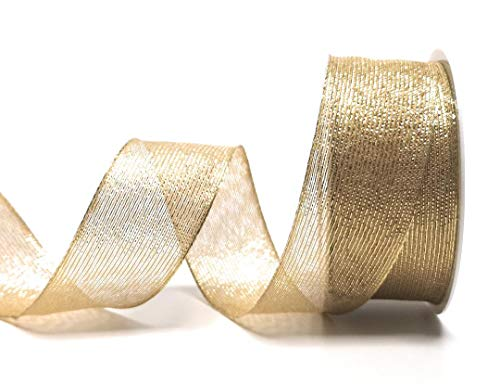 Konrad Arnold SCHLEIFENBAND 25m x 40mm Gold gestreift Dekoband Geschenkband Weihnachten [3154]