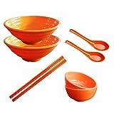 Tianher 2 juegos (8 piezas) Tazones Grandes para Sopa de Fideos de Ramen Japonés Cuencos de Melamina & Tazón pequeño Palillos de cuchara para Udon Pho pasta y ensalada