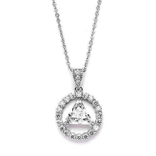 Mariell AA Recovery Symbol Cubic Zirconia Silver Rhodium Necklace Celebrate Alcoholics Anonymous Sobriety