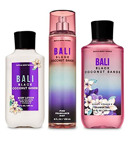 Bath and Body Works - BALI - Black Coconut Sands - The Daily Trio Gift Set Full Size - Shower Gel, Fine Fragrance Mist and Body Lotion - 2020