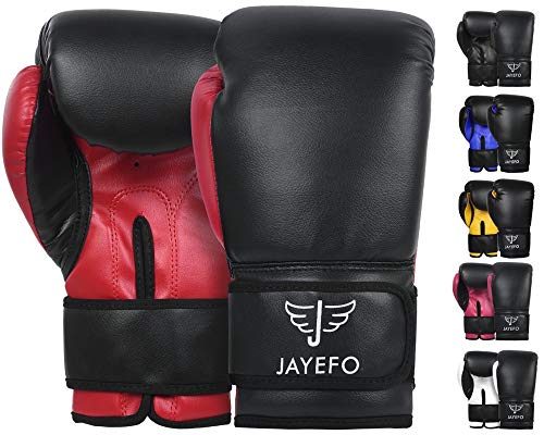 Jayefo Beginners Leather Boxing MMA Muay Thai Gloves Kick Boxing Gloves Sparring Gloves MMA Gloves Bag Gloves (Black-RED, 16 OZ)