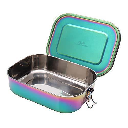 G.a HOMEFAVOR Edelstahl Brotdose Bento Box Auslaufsicher Groß Metall Lunchbox 1400ml Vesperdose Sandwichbox für Kinder und Erwachsene, Galvanisierung Regenbogenfarbe, Brotzeit-Box