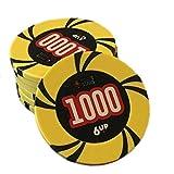 TX GIRL 25 Piezas/Set Texas Hold'em Poker Chips Tarjetas De Juego Chips Baccarat Casino Monedas Chips Clay Embedded Metal (Color : 1000 Face Value)