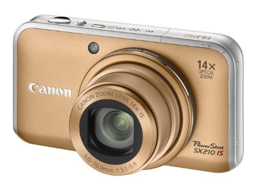 Canon PowerShot SX210 IS Digitalkamera (14 MP, 14-fach opt. Zoom, 7.6cm (3 Zoll) Display) gold