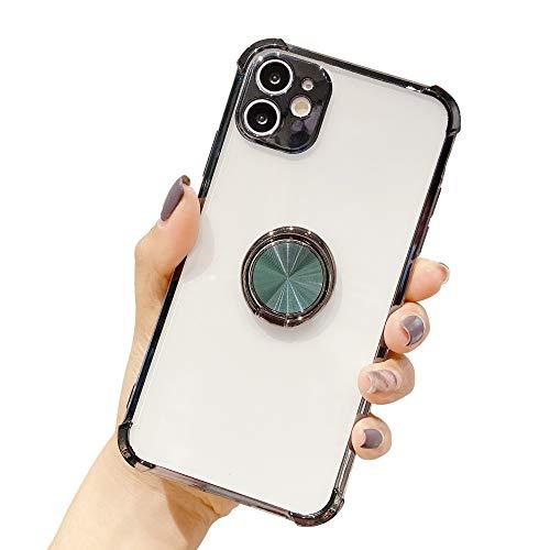 Suhctup Coque Compatible pour iPhone 11 Pro Max avec Support,Etui Case Transparent Silicone TPU Gel [Angles Renforcés] Antichoc Housse Cover avec 360° Support de Voiture Magnetique,Vert