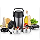 Kaave Thermobehälter Warmhaltebox bigJar 1,8 L - Hochwertiger Isolierbehälter Box für Warme Speisen, Babynahrung, Essen, Suppe - Inkl. 3 Boxen & Löffel