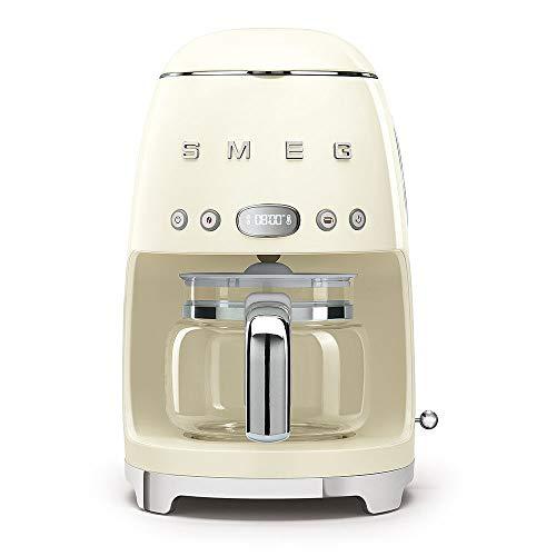 Smeg DCF02CRUK Drip Coffee Machine, 10 Cup Capacity, Auto-Start Mode, Reuseable Filter, Digital Display, Anti-Drip System, Aroma Intensity Option, 1.4 Litre Tank, Cream