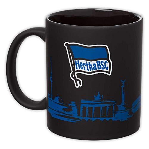 Hertha BSC Berlin Tasse - Skyline - gummiert Kaffeetasse schwarz Kaffeebecher, Coffee Pot (L)