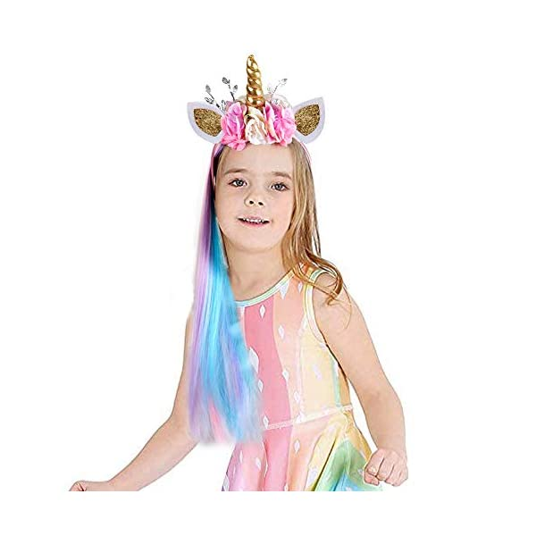 Lorfancy Unicorn Headband for Girls Unicorn Costume Birthday Halloween Party Unicorn Party Supplies Favors 8