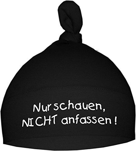 KLEINER FRATZ Kleiner Fratz Baby Mütze Bedruckt mit NUR SCHAUEN - Nicht ANFASSEN (Farbe schwarz) (Gr. 0-74)
