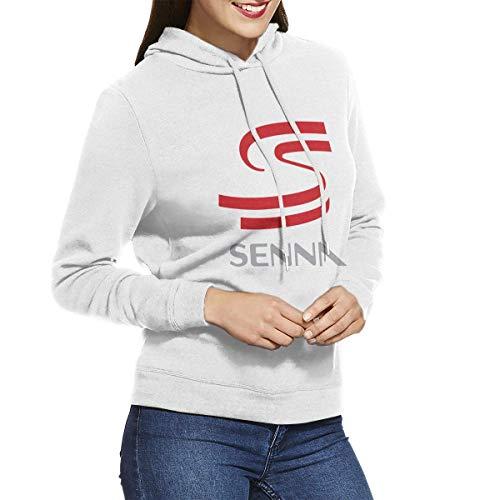Ayrton Senna Logo Sudaderas con Capucha para Mujer Sudadera con Capucha Chaquetas Blanco