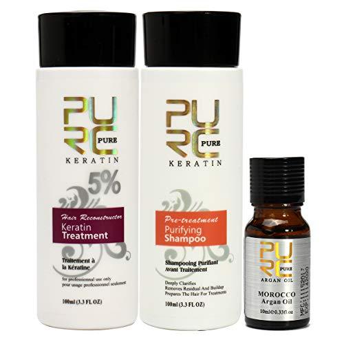 EgBert 3Pcs Pure Brazilian Keratin Hair Straightening Treatment Shampoo Argan Oil Kit
