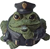 Homestyles Toad Hollow #94087 Figurine Policeman in Cop Uniform with Cap Badge & Whistles Rescue Character Garden Small 5.5' h Statue Toad Figure Evergreen