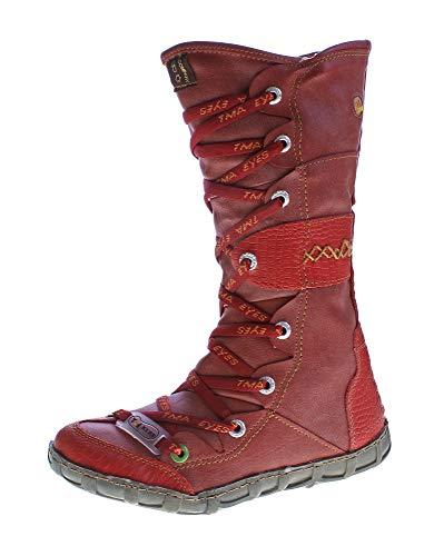 TMA Leder Stiefel Damen Winter Schuhe gefüttert Schwarz Weiß Grün Gelb Rot Braun Blau im Used Look (37 EU, Rot Reptil)