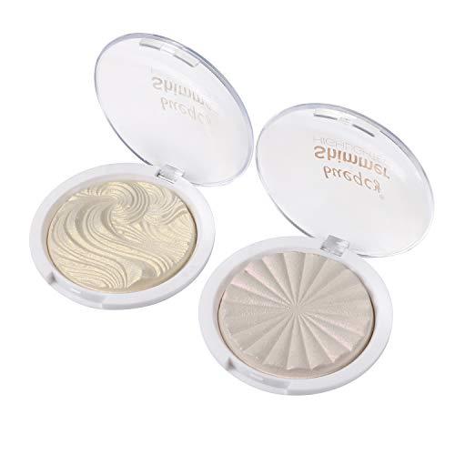 Vtrem 2Pcs Highlight Illuminateur Maquillage Professionnel Palette De Poudre Pour Visage Teint Femme Surligneur【01+11】