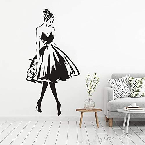 mlpnko Boutique Kleid Vinyl Fenster Poster Elegante Dame Wandaufkleber Schönheitssalon Wandtattoo,CJX12439-44x86cm