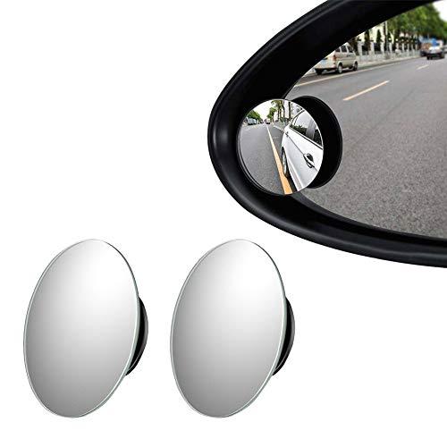 Universal-Spiegel, für tote Winkel, 360 Grad verstellbar, rund, HD Glas, rahmenlos, konvexer Außenspiegel, 2 Stück