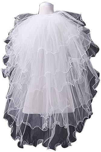 URPRU 6Tier Brautschleier Hochzeit 1 5 M Kurze Spitze Rand Diamant Deko Ellenbogen Länge Mit Kamm Weiß