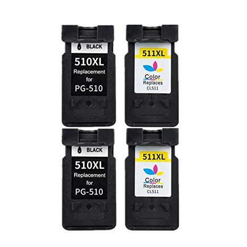LIUYB Cartucho de Tinta PG510 CL511 Compatible for Canon PG 510 510XL for MP280 MP480 MP490 MP240 MP250 MP260 MP270 IP2700 Impresora (Color : 2 Black and 2 Color)