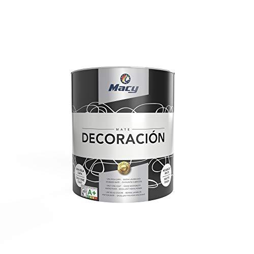 Macy Pintura Plástica Mate Decoración Interiores Excelente Cubrición, Acabado Perfecto. Color Blanco. 750 ml