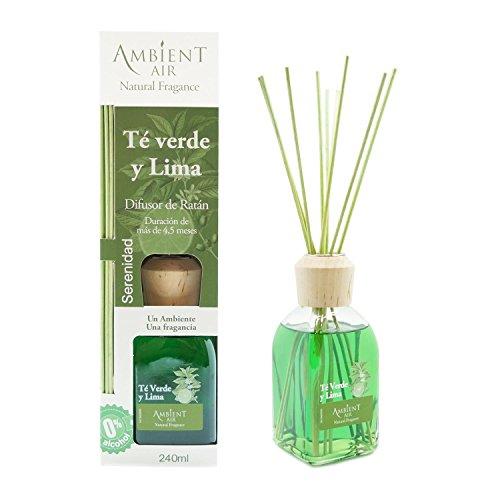 Ambientair Classic. Difusor de Varillas perfumadas. Ambientador Mikado Aroma Té Verde y Lima. Difusor 240 ml con palitos de ratán. Ambientador para Hogar sin Alcohol.