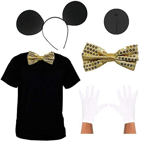 Disfraz de ratón de dibujos animados para niños y adultos, parte superior negra, corbata de lentejuelas dorada, guantes blancos y orejas de ratón, y nariz de espónica negra (Grande)