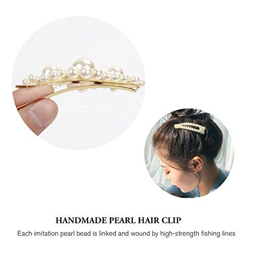 Pearl Hair Clips for Women 9 Pack Large Fashion Hair Barrettes Party Birthday Wedding Bridal Hair Clips 6
