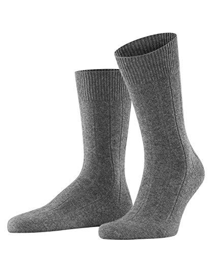 FALKE Herren Socken Lhasa Rib - Merinowoll-/Kaschmirmischung, 1 Paar, Grau (Light Grey Melange 3390), Größe: 43-46