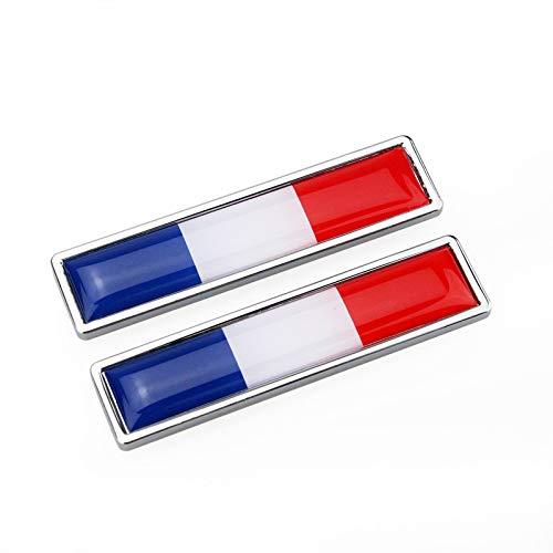 Satz von 2 Stück Frankreich Flagge Metall Auto Schilder Aufkleber 3D Emblem National FR Tricolor Flagge Abzeichen Grafik Aufkleber für Universal Auto Motorrad Fender Röcke Stamm Seiten, 58mm * 14mm