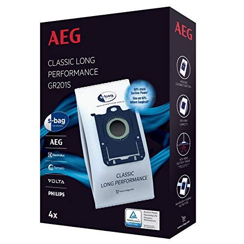 AEG GR201S s-bag Staubbeutel Classic Long Performance (4 Staubsaugerbeutel für dauerhaft hohe Saugleistung, optimale Filtration, Hygieneverschluss, 60% mehr Saugkraft, weiß)