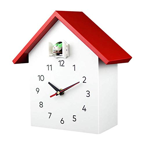 MXCYSJX Reloj de Cuco Grande y vívido - Pajarera Blanca, diseño Moderno Minimalista, Reloj de Cuco con Reloj Despertador temporizado, Campanilla con Apagado automático Cocina y hogar,A2red