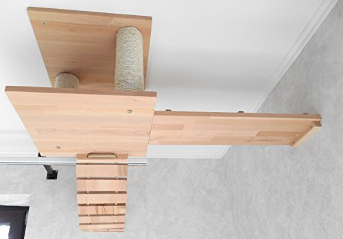 Jennys Tiershop Katzen Wandpark, handgefertigte Tiermöbel/Luxusmöbel, Katzenmöbel in vielen Ausführungen, Kratzbaum/Katzenbaum für die Wand. Hier: Deckenabhängung, 3 Teilig (1551gh)