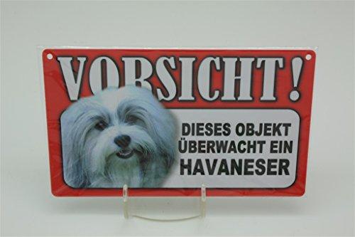 HAVANESER - Tierwarnschild - VORSICHT Tier Warnschild 20x12 cm Hund Hunde Schild 24